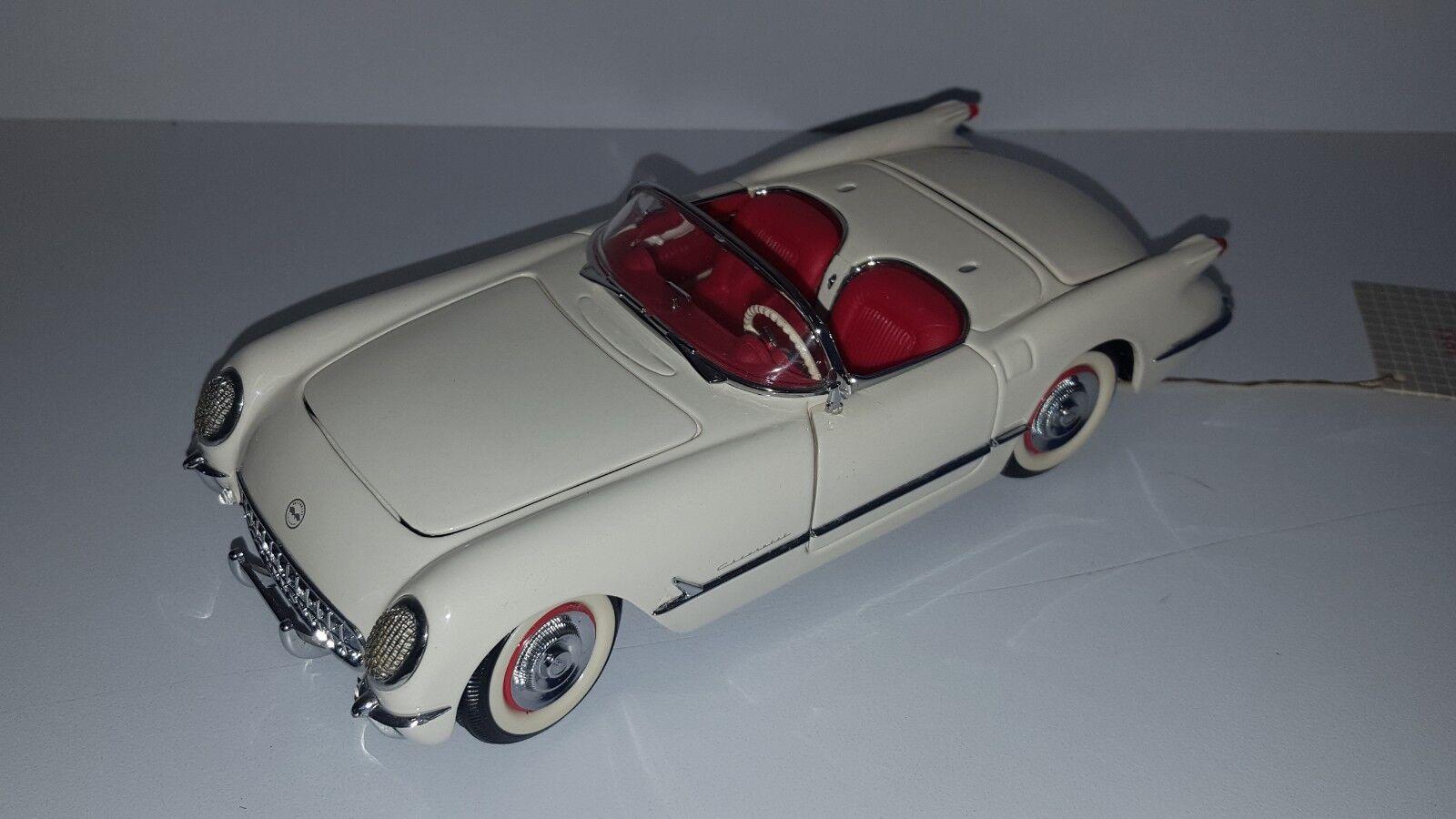 1 24 Franklin Mint Buen Detalle 1953 Chevrolet Corvette Converdeible blancoo