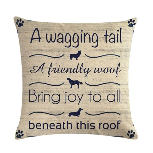 Cotton Linen Pillow 18/'/' Home Dog//Cat Case Sofa Waist Throw Cushion Cover Decor
