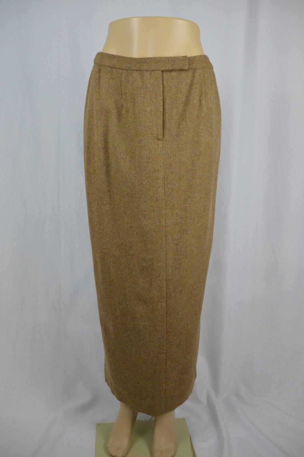 Lauren Ralph Lauren Womens 10 Brown Beige 100% Lambswool Long Lined Skirt