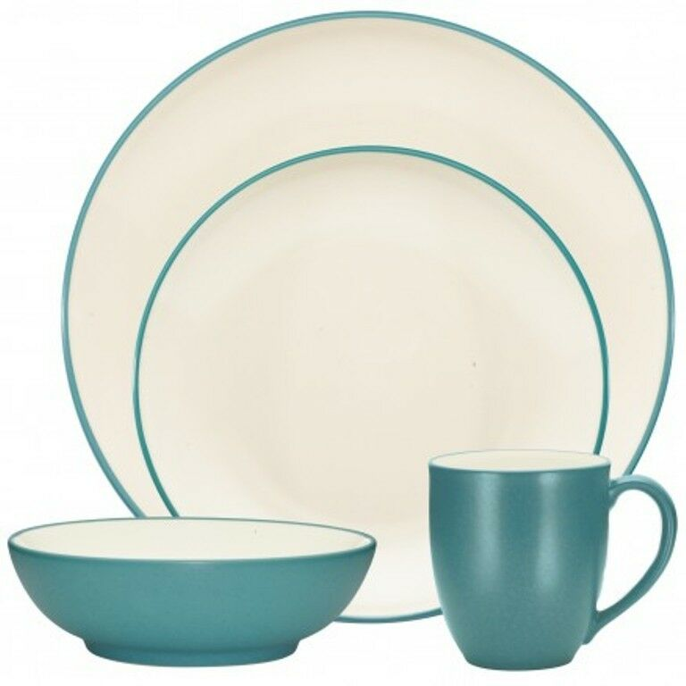 NORITAKE CouleurWAVE Turquoise Coupe 32Pc Dinnerware Set, service pour 8