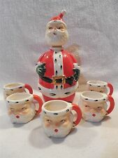 Vintage Lefton Japan Ceramic Christmas Santa Decanter & 5 Mini Mugs #1383