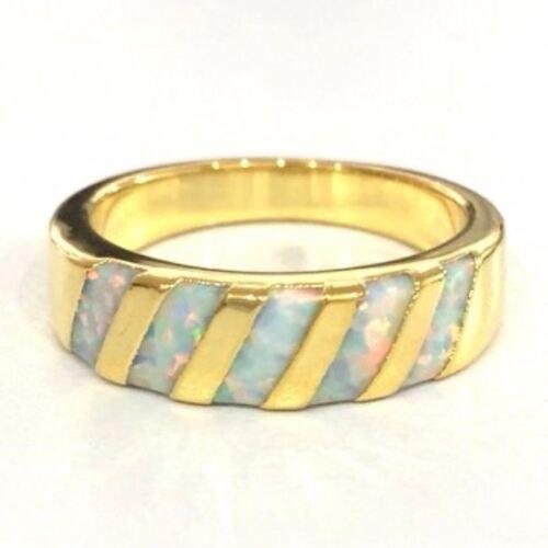 Classic Fire Australian Opal Band Ring Women Gift Jewelry 14K Yellow Gold