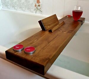 Wooden Bath Caddy Tray Tealights Tablet