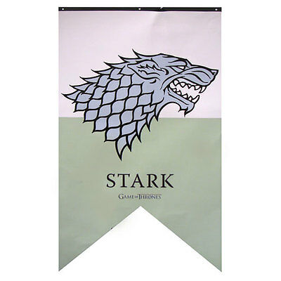 "HBO Game of Thrones XL 48"" LICENSED House STARK Dire Wolf Sigil Banner FLAG"