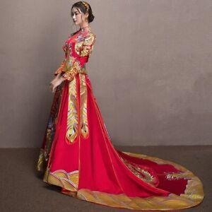Vintage Embroidery Dragon Phoenix Wedding Dress Clothes Cheongsam China Qipao
