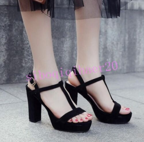 Casual Womens T-Strap Open Toe Sandals Shoes Ankle Buckle Chunky Heel Pumps Size