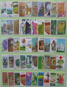 THAILAND-STAMP-COLLECTION-PACKET-of-50-DIFFERENT-LARGE-SIZE-STAMPS-USED-Lot-2