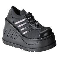 Demonia Stomp 08 Ladies Hi Platform Sneakers Goth Punk Cyber Gogo Black Shoes