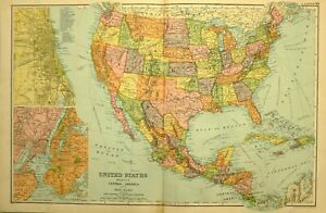 Details about 1905 ANTIQUE MAP ~ UNITED STATES MEXICO CENTRAL AMERICA NEW  YORK CHICAGO CUBA