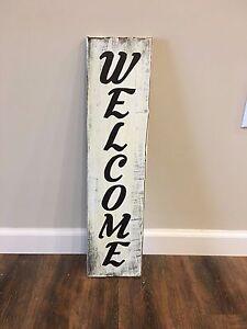 Welcome Rustic Front Door Porch Vertical Wood Welcome Sign Hgtv Handmade Decor Ebay