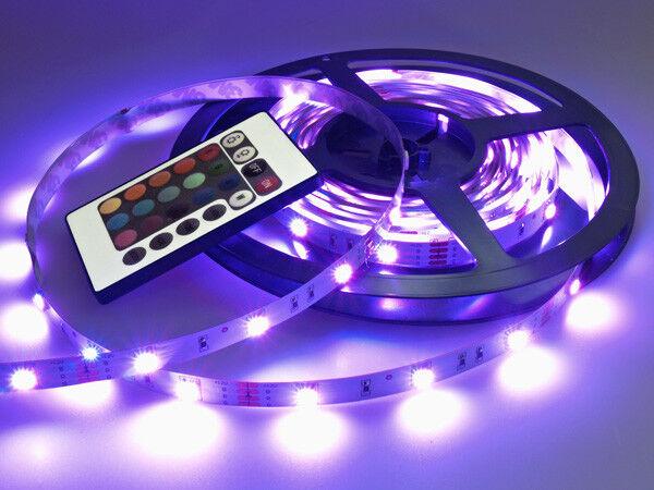 SMD LED RGB nastro all'infinito all'infinito all'infinito 5m 12v ACCORCIABILE incl. 230v alimentatore e telecomando NUOVO fae682