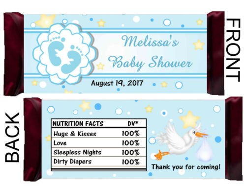 BLUE BOY BABY SHOWER FAVORS CANDY BAR WRAPPERS HERSHEY BAR WRAPPERS