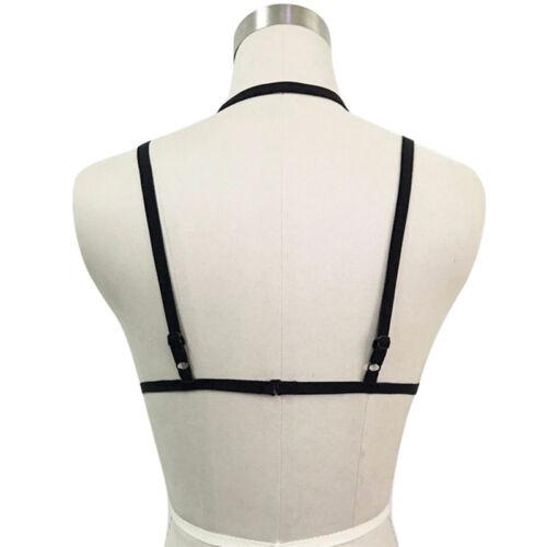 Women Bandage Goth Cage Bra Top Body Harness Cross Crop Strap Lingerie Pip I2