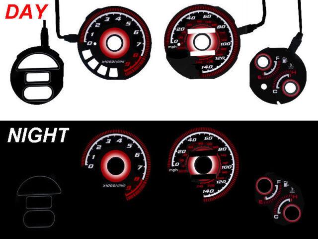 USA Free Ship Type-R Red Glow 01-02 Honda Civic With Tach Auto Glow Gauge JDM