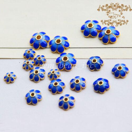 5Pcs Golden Tone Blue Enamel Flower Bead Cap Charms À faire soi-même Alliage Perle 5//8//10mm