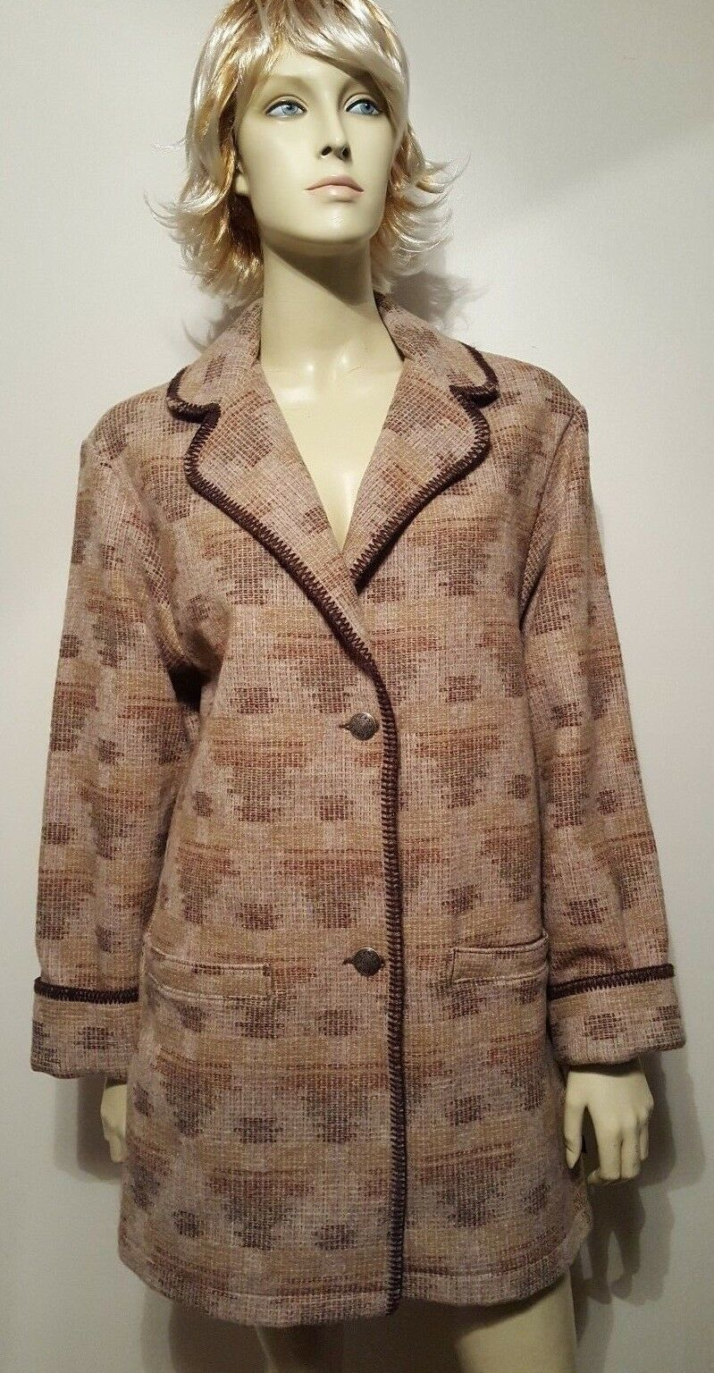 Woolrich Indian Blanket Coat Sz M Women's Aztec Wool Earth Tones
