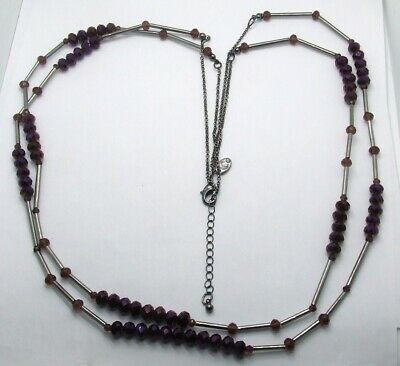 Multi-strand silver-toned necklace with charm beads