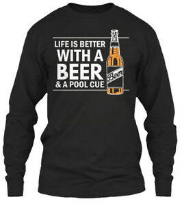 Billiards-Pool-Cue-Beer-Funny-Drinker-Life-Is-Gildan-Long-Sleeve-Tee-T-Shirt
