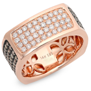 Hommes-1-78CT-14K-or-Rose-Plat-Carre-Champagne-Blanc-Diamant-Rond-Bague-Mariage