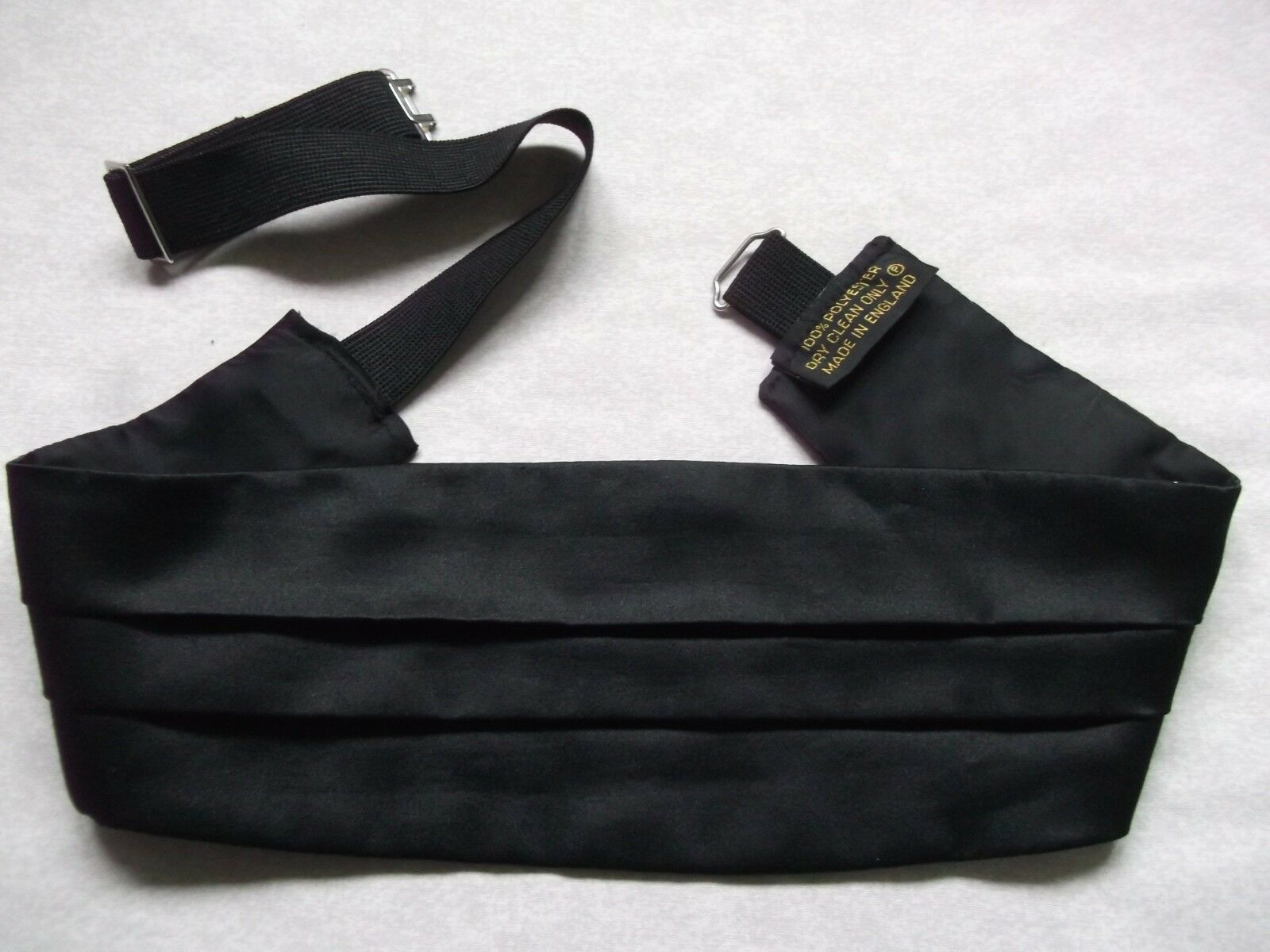 Cummerbund Mens Pleated Vintage Retro 1980s 1990s Pleated BLACK