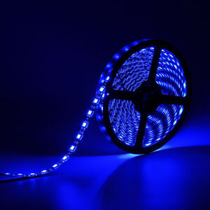 SUPERNIGHT? Blue 16.4ft 300Leds 5M 5050 SMD LED Strip Light Black PCB waterproof