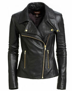 New Women's Black Slim Fit Biker Style Moto Real Leather Jacket | eBay