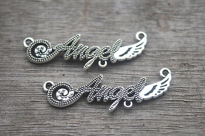 15pcs Angel charms Silver tone letters Angels Signs Charm Pendants 43x13mm
