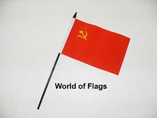 """USSR SMALL HAND WAVING FLAG 6"""" x 4"""" Russia Russian Crafts Table Desk Display"""