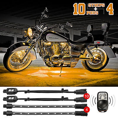 14pc Remote Control Neon Under Body Motorcycle Car Atv Accent Lighting Yellow 744890271125 Ebay