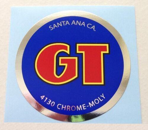"""1984-85 Blue /& Chrome Foil GT Santa Ana Ca Coin Decal 2 1//4/""""x Old School BMX"""