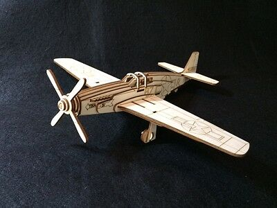 Laser Cut Wooden WW2 Mustang P-51 War Plane 3D Model/Puzzle Kit   eBay