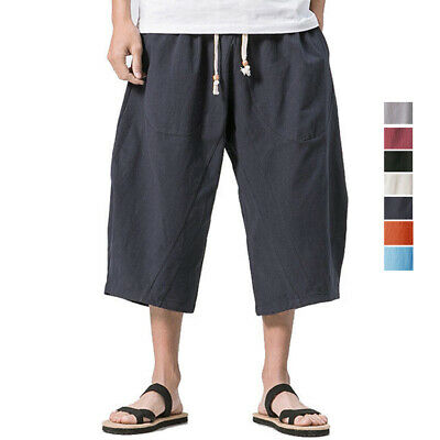 Mens Linen Harem Shorts Baggy Capri Pants Yoga Fitness Loose Fit Causal Trousers Ebay