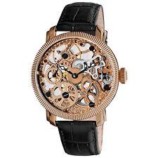 Akribos XXIV Men's Mechanical Skeleton Rose Goldtone Strap Watch