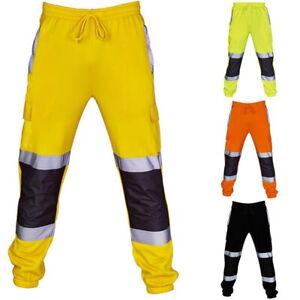 Hi-Viz-Waterproof-Rain-Over-Trousers-High-Vis-Visibility-Mens-Elastic-Pants-New