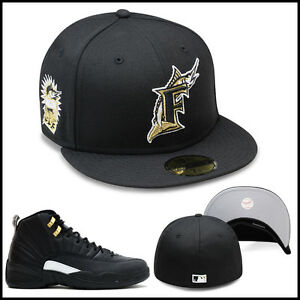9884fa446fc929 ... sale new era florida marlins fitted hat all black gold for jordan retro  12 the 2ffaa ...