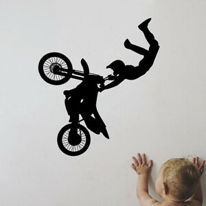 Bike-Bicycle-Biker-Boys-Wall-Decal-Cool-Sticker-DIY-Vinyl-Mural-Kids-Room-Decor