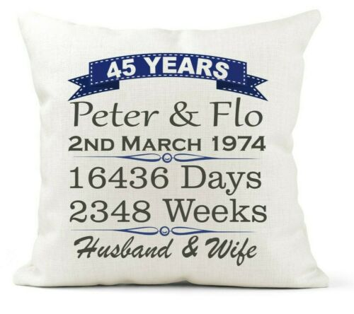 Personalised Cream Scatter Cushion 45th Wedding Anniversary Gift Sapphire 45yr