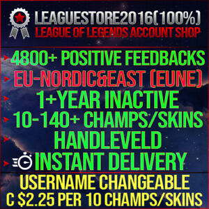 League of Legends Account LOL EUNE Unranked Lvl 30 All Champs Smurf Skins Acc BE