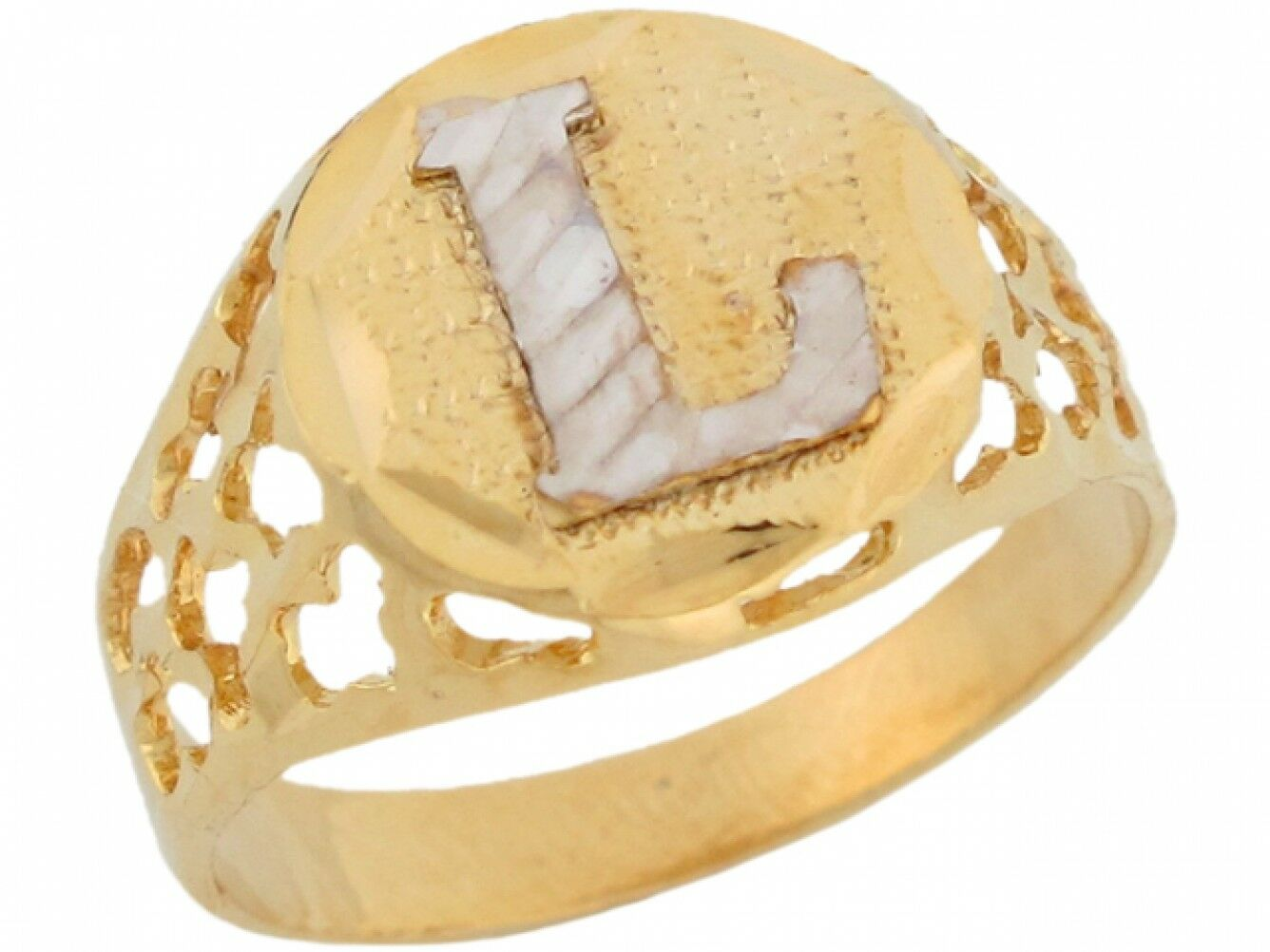 10k or 14k Two Tone gold Unique Filigree Letter L Stylish Ladies Initial Ring