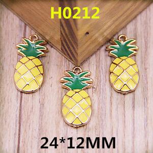 50 Pcs Pineapple Metal Enamel Charms Pendants Bracelets DIY Jewelry Making H04