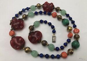 Vintage Chinese Carved Jade Coral Lapis Carnelian Gemstone Beaded Necklace