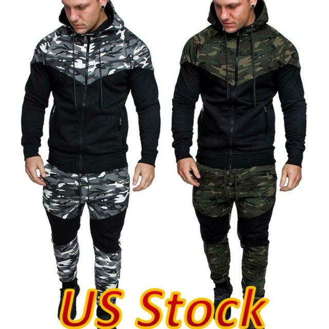 Men/'s Hoodies Sweatshirt Pants Tracksuit Set Bottoms Sport Jogging Suit 2Pcs New