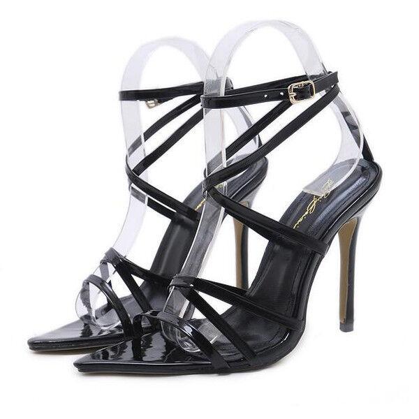 Sandale stiletto eleganti sabot 11 nero lucido simil pelle eleganti CW874