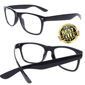 NEW Fake Black Square Frame Geek Glasses Clear Lens UV Protection Nerd Unisex