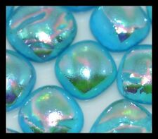 Lot of 6 RIPPLE TURQUOISE Fused Glass DICHROIC Cabochons Beads