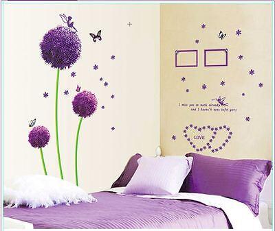 Purple Dandelion Flowers Butterfly fairy Wall Stickers Vinyl Decal Nursery Decor