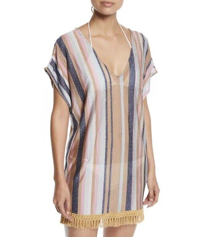 NWT Anthropologie PILYQ Maggie Metallic Stripe Coverup Tunic Dress Size XS S