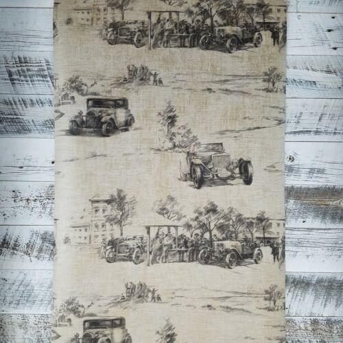 Wallquest Hudson Auto Vintage Cars Historical Toile Wallpaper Brown Beige Scene