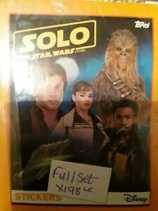 SOLO A STAR WARS STORY, FULL SET OF STICKERS X198