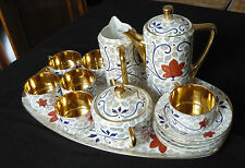 Antikes Tee Service 16 teilig Böhmen Pirkenhammer Jugendstil Imari pattern 2.7kg